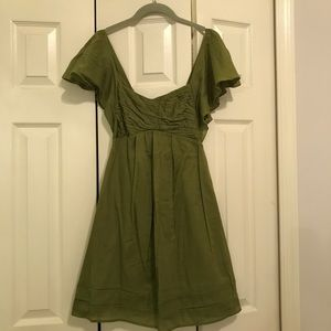 Jessica Simpson Green Linen Ruffle Dress